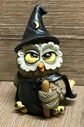 Figur - Lustige Eule Zauberer mit Hut, Mantel & Zauberstab - Dekoration