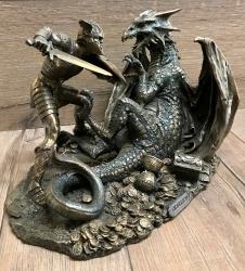Statue - Siegfried im Kampf mit dem Drachen - bronziert - Dekoration - Ritualbedarf