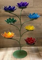 Kerzenhalter - LotusBlume -  2. Sakralchakra/Svadisthana - orange mit Goldrand