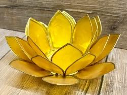 Kerzenhalter - LotusBlume -  3. Solarplexus-Chakra/ Manipura - gelb mit Goldrand