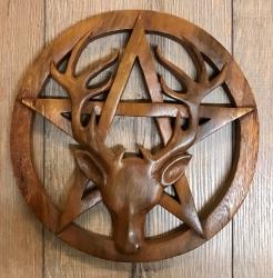 Plaque - Wandschmuck - Echtholz - Hirsch auf Pentagramm