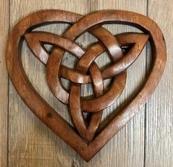 Plaque - Wandschmuck - Echtholz - Fionas keltisches Herz