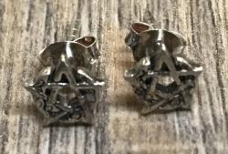 Ohrringe - Ohrstecker Halbmond Pentacle durchbrochen - 925er Sterling Silver - einzeln