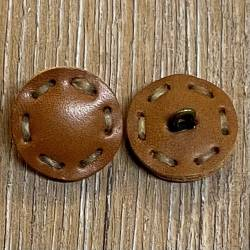 Knopf aus Leder - hellbraun - Öse - 24mm