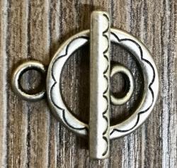 Haken & Öse aus Metall - 18mm altsilber - Kettenverschluss
