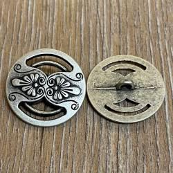Knopf aus Metall - florales Motiv durchbrochen – Öse – 25mm - Ausverkauf
