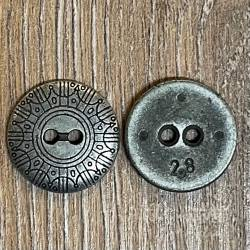 Knopf aus Metall- Schild – 2-Loch – 18mm - Ausverkauf
