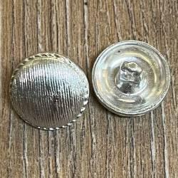Knopf aus Metall- silber glänzend – Öse – 15mm - Ausverkauf