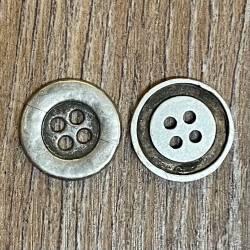 Knopf aus Metall- altsilber – 4-Loch – 15mm - Ausverkauf