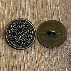 Knopf aus Metall - Ornament altmessing – Öse – 20mm - Ausverkauf