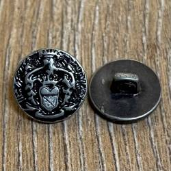 Knopf aus Metall- Wappen altsilber – Öse – 12mm - Ausverkauf