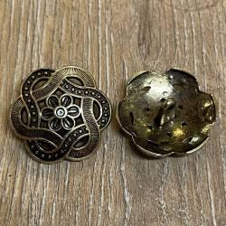 Knopf aus Metall - Floralmuster durchbrochen – Öse -28mm - altgold