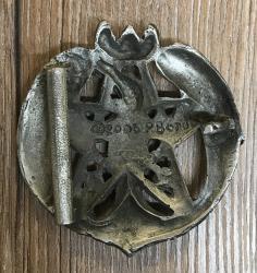 Gürtelschließe/ Buckle - Rabe im Mondpentakel - Crescent Raven Pentacle - Hartzinn