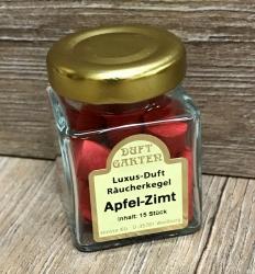 Räucherkegel - Luxus im Mini Glas - Apfel Zimt (rot)