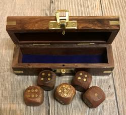 Maritimes - Würfel Box inkl. 5 Würfel - Holz/ Messing