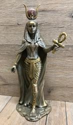 Statue - Hathor - ägyptische Himmelsgöttin - bronziert - Dekoration - Ritualbedarf