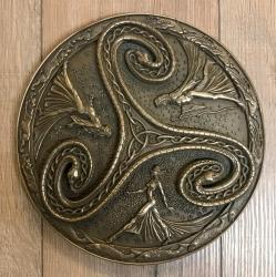 Plaque - Wandtafel - Triskele Dreifache Göttin - Triple Goddes Triskelle - bronziert