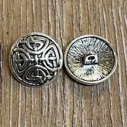 Knopf Metall - keltisches Kreuz - 17mm - Antik Silber