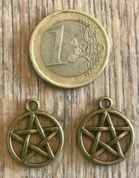 Anhänger - Charm - Pentagramm - Zinklegierung -  Farbe: Antik Bronze