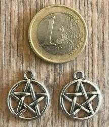Anhänger - Charm - Pentagramm - Zinklegierung -  Farbe: Silber