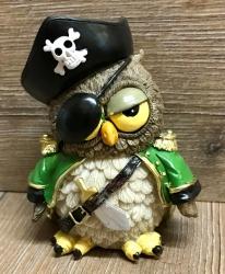 Figur - Lustige Eule Pirat mit Augenklappe