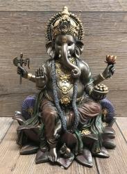 Statue - Ganesha - hinduistischer Gott & Herr der Hindernisse - bronziert - Dekoration - Ritualbedarf