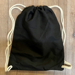 Tasche - Baumwolle - Rucksack - Organische Baumwolle - schwarz mit naturfarbener Kordel