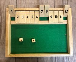 Spiel - Klappenspiel Shut the box mit Würfelfläche - Ritter Pasch 12er