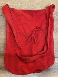 Tasche - Baumwolle - Umhängetasche LC mit Kordelzug - grobe Baumwolle - rot