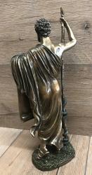 Statue - Hippokrates hält Schriftrolle mit hippokratischem Eid deutsch - bronziert - Dekoration - Ritualbedarf