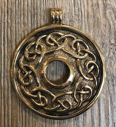 Anhänger - keltisch - Flechtmuster mit Loch in der Mitte - Bronze