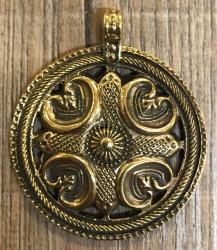 Anhänger - keltisch - keltisches Kreuz mit Ornament durchbrochen - Bronze