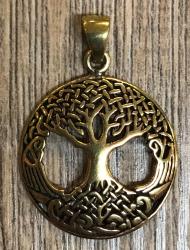 Anhänger - keltisch - Baum des Lebens/ Weltenbaum durchbrochen klein - Bronze
