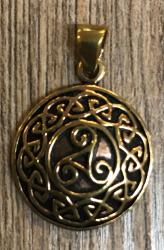 Anhänger - keltisch - Triskele Amulett massiv mit Flechtkranz - Bronze