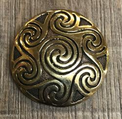 Brosche - keltisch - Sonnen Spirale massiv - Bronze