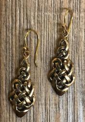 Ohrringe - Ohrhänger keltischer Knoten Tropfen - Bronze