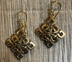 Ohrringe - Ohrhänger keltischer Knoten Quadrat - Bronze