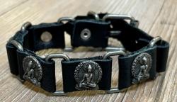 Armband - Leder - Buddha aus Zinn - schwarz