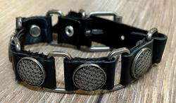 Armband - Leder - Blume des Lebens aus Zinn - schwarz