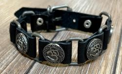 Armband - Leder - OM aus Zinn - schwarz