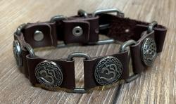 Armband - Leder - OM aus Zinn - braun