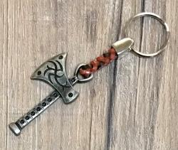 Schlüsselanhänger - Axt mit geflochtenem Lederband - Keyring