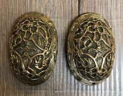 Fibel Brosche - Ovalfibel - Bronze - 2er Set