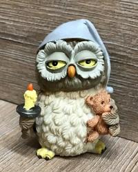 Figur - Lustige Eule NachtEule mit Teddybär - Dekoration