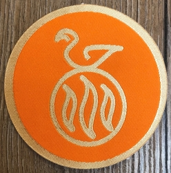 Aufnäher Patch Aufkleber - gewebt - DSA 04 - Travia - 8cm - orange/ gelbgold