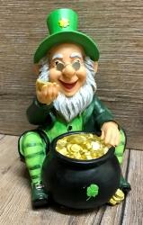 Spardose - Irischer Glücks Kobold - Leprechaun mit Topf voller Gold
