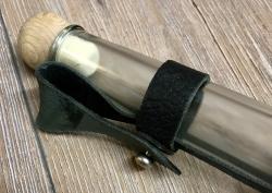 Flasche - Feldflasche Langhals 0,5l mit Gürtelhalter aus Leder - schwarz