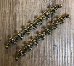 Fibel Brosche - Zubehör Verteiler für Gehänge Stabkettenverteiler aus Birka - Bronze - 2er Set