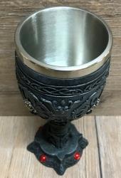 Kelch mit Stahleinsatz - Drache mit eckigem Standfuß - gothik