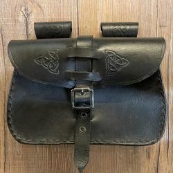 Tasche - Leder - LC3017 Gürteltasche - mit Punzierung - schwarz